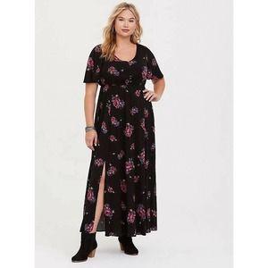Torrid 4X Size 4 Plus Size Black Floral Challis Maxi Dress Romantic